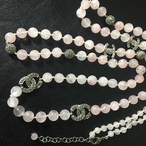 Authentic  Chanel Rose Quartz necklace